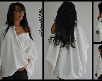 Unique white shirt /White Cotton shirt / Extravagant shirt top / Long sleeves top /Asymmetric shirt /Oversized shirt