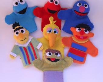 Sesame Street Inspired Felt Finger Puppets /finger puppets / felt toys/ quiet play/sesame street/ birthday party favors,puppets