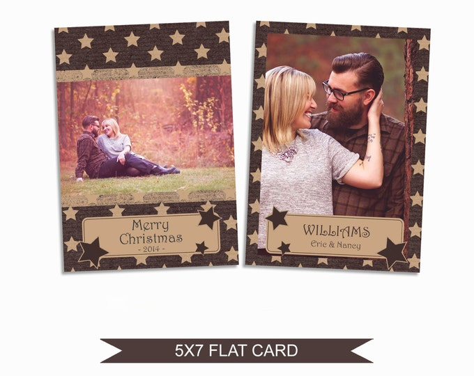Rustic Christmas Card Template - 5x7 Photo Card - Photoshop Template - INSTANT DOWNLOAD or Printable - CC11