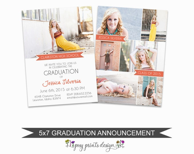 Graduation Announcement Template - 5x7 Digital Photography Photoshop Files - Template for Photographers - 7 pictures or photos- GC08