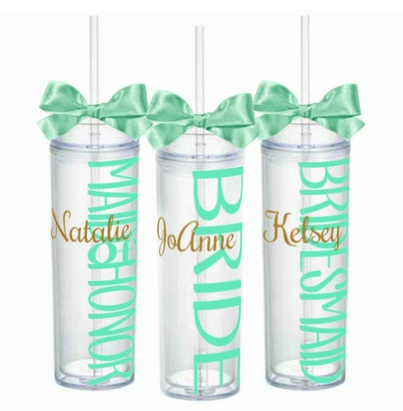 12 Skinny Personalized Bridesmaid Tumbler, Wedding Party, Bachelorette Party Acrylic Tumbler