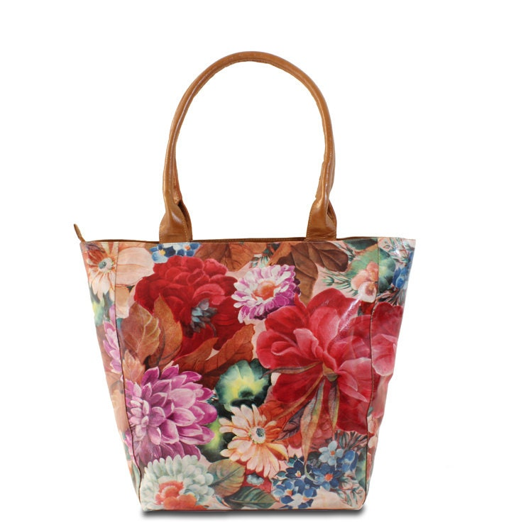 leather tote bag in floral print leather handbags floral