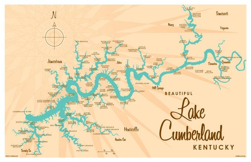 Lake Cumberland KY Map Print - Kentucky lakes map