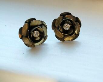 Bronze & Rhinestone Stud Earrings