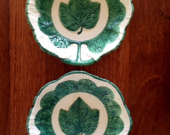 Vintage Majolica Bowls - Made in Italy - Green Leaf