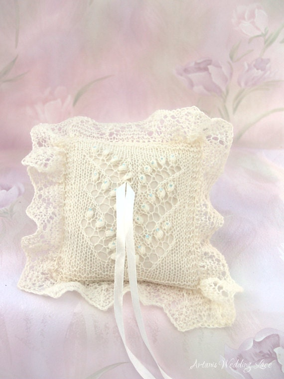 Lace Ring Bearer Pillow Hand Knitted Natural White Pillow