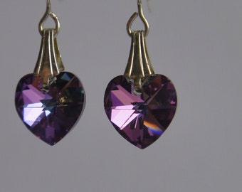 Violet swarovski crystal heart earrings