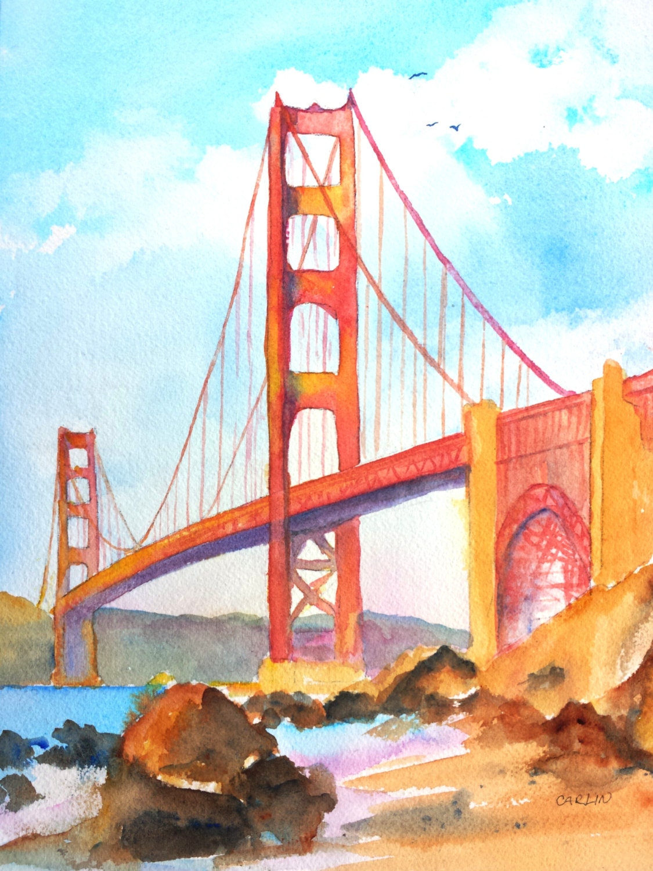 Golden Gate Bridge Original Watercolor Painting 9x12 Inch