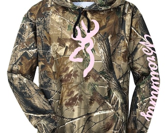 Realtree® Pullover Hooded Sweatshirt, Camo Buck Logo, Sublimated Hoodie, Browning Sleeve, Now With More Design Colors! Outdoors - 055