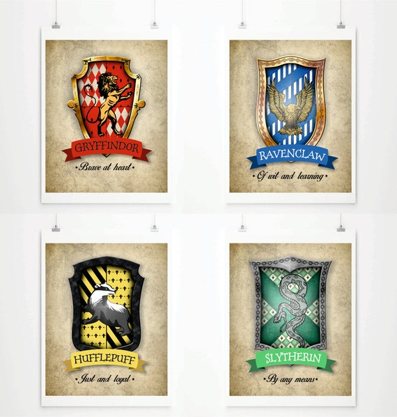 Hogwarts House Crests Poster Harry Potter Art Print By