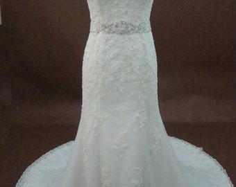Sweetheart Neckline With Lace Overlay Beaded Appliques and Embellished Waistline Details