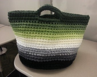 Crochet ombre tote bag