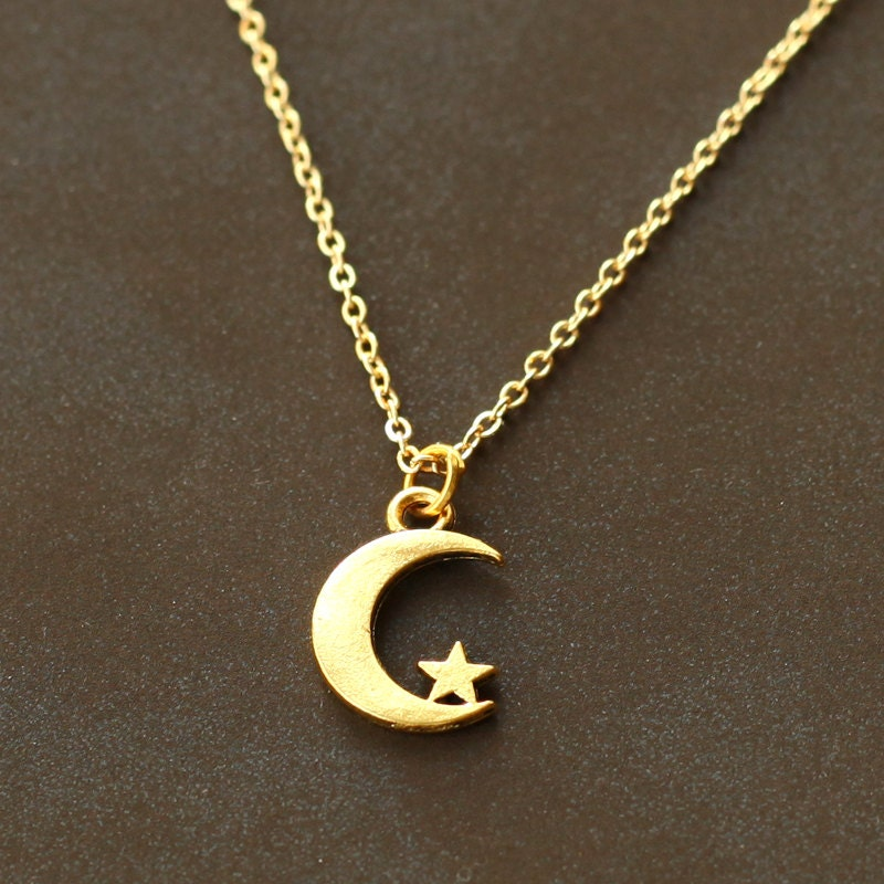 Crescent moon necklace gold tiny moon and star by ...