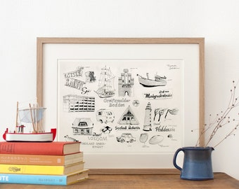 Memories of the Baltic Sea drawing, Fine Art Print, maritime illustration, travel nautical decor, in black & white, nordic, New German Shop