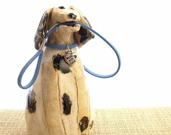 Stoneware Spotty Dog Ornament - Dog Sculpture - Clay Dog - Pottery Animals