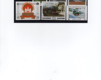 Vintage local railway stamps, North Yorkshire Moors Railway. British. Trains