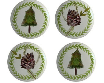 Pine Trees and Pine Cones  for Lodge or Cabin Ceramic Knobs Pulls Rustic