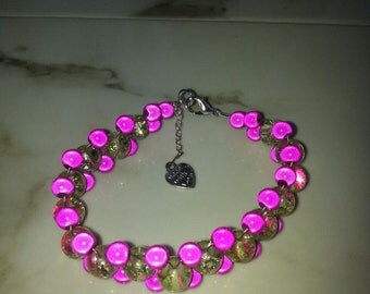 Silver Plated Pink and Lime Green Miracle Bead Bracelet