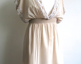 1970s look vintage embroidered cream cotton tunic dress Size 8