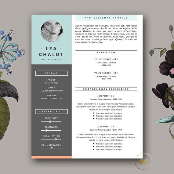 Resume Template | Creative Resume Design + Cover Letter for MS Word ...