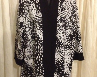 Beach Cover Up Black & White Tan Jay Size  with Basket Weave Spandex/ Very Interesting! Free Shipping