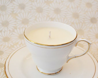 White & gold, bergamot scented, eco soy wax teacup candle