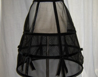 Black Crinoline Hoop Skirt Sheer Mesh with Black Velvet Ribbon and Bows Size Small-Medium