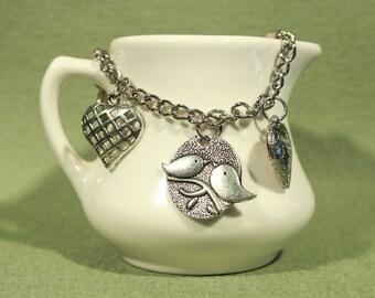 Love Birds Heart Silver Tone Charm Bracelet