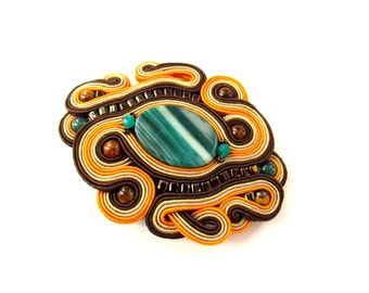 SALE !!!  Orange Brown Green Soutache Brooch Verde, will add glamour to any outfit Very elegant effective, ideal for classic style, handmade