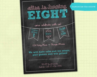 Chalkboard Birthday Party Invitation / Printable / Digital File