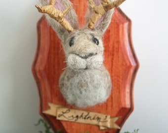 Poor Lightnin'- Jackalope, Raccoon, Squirrel, Fox, Unicorn felt mount