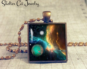 """Galaxy Nebula Necklace with Planets - 1"""" Square Pendant or Key Ring - Handmade Wearable Photo Art Jewelry - Outer Space Jewelry - Gift"""