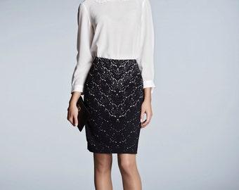 Lace print jersey skirt / penscil skirt / black skirt