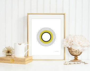 Circle print, yellow wall art, Geometric print, Wall art, abstract art, scandinavian print, minimalist print, abstract wall art, Yellow