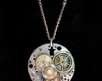 Steampunk Watch Plate Pendant Necklace