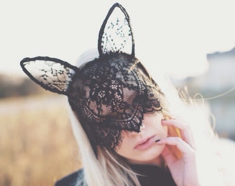 Sale 20% Off MYSTERIOUS BUNNY black lace bunny mask with veil and ears