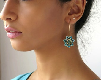 Flower earrings, Gold turquoise earrings, Flower dangle earrings, Turquoise earrings dangle, Turquoise gold earrings, Floral earrings