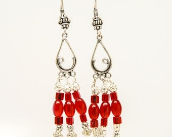red glass bead and silver chandelier earrings