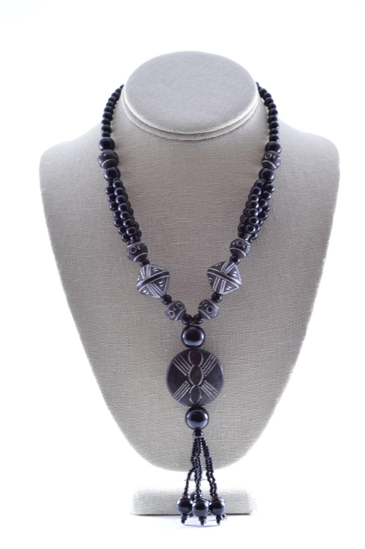 tribal ethnic beaded necklace terracotta pendant