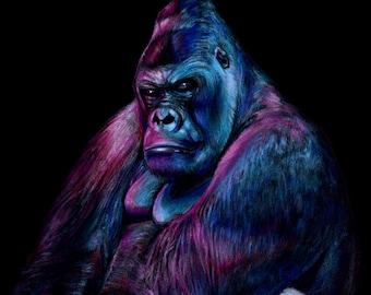 Neon Gorilla Print from original color pencil drawing