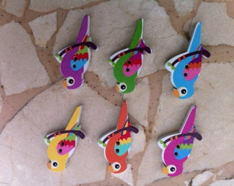Colorful Wooden Parrot Buttons - Set of 6