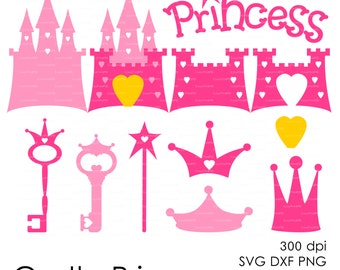 Royal Castle Princess Cinderella 300 dpi (svg, dxf, ai, eps, png) vector Cutting file, cut Silhouette Cameo template EasyCutPrintPD