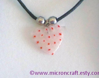 MILLEFIORI Murano Glass, clear glass, pink, red, white, heart, glass heart, glass pendant, Love HEART necklace, glass necklace, uk, gift