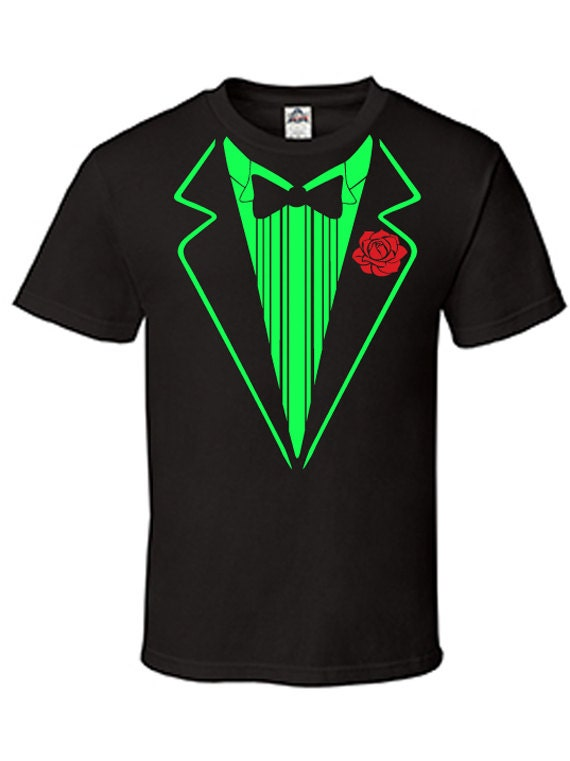 Free shipping mens black neon green tuxedo shirt by for Neon green shirts for men
