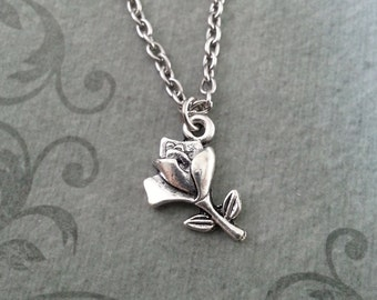 Rose Necklace, SMALL Rose Jewelry, Silver Necklace, Valentine's Day Jewelry, Rose Pendant Necklace, Rose Charm Necklace, Bridesmaid Necklace