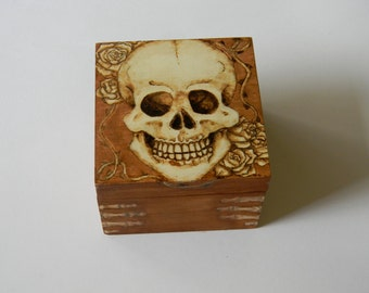 SALE~ Skull and Roses Pyrography/Wood Burned Jewelry Box