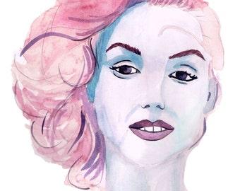 Colorful Marilyn Monroe Watercolor Painting