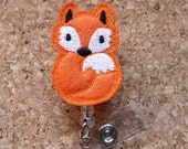 Fox Badge Reel - ID Badge Reel - Felt Badge Reel - Retractable Name Holder - Nurse / Teachers / Office Workers -  123
