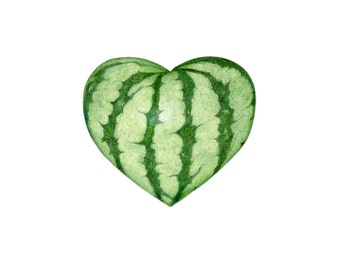 Watermelon heart - Botanical Hearts series  - Archival print of my colored pencil drawing