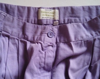United Colors of Benetton Lavender Trousers 100% Cotton made in Italy c1980s  Vintage